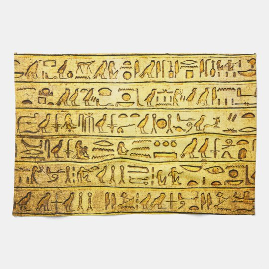 Ancient Egyptian Hieroglyphs Yellow Tea Towel