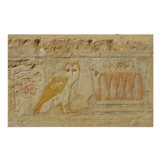 Ancient Egyptian Owl Hieroglyphic Poster