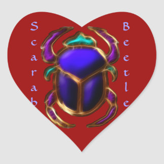 Ancient Egyptian Scarab Beetle Design Heart Sticker