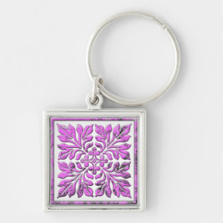 Ancient english tile cool bright pink Silver-Colored square key ring