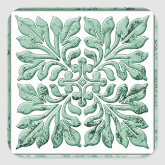 Ancient english tile cool faded green square sticker
