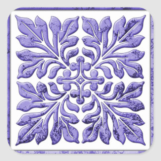Ancient english tile cool purple square stickers