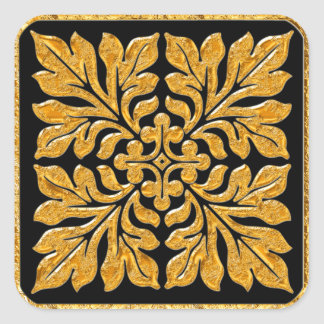 Ancient english tile shiny bright gold square sticker
