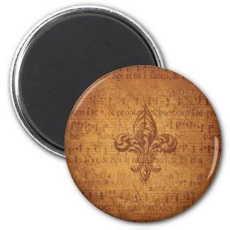 Ancient Fleur De Lis 6 Cm Round Magnet