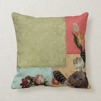 Ancient Garden Vintage Floral Tulip Rose Hellebore Cushion