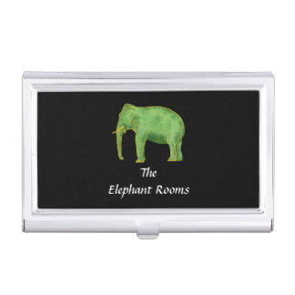Ancient Gold and Jade Elephant Business Card Holder
