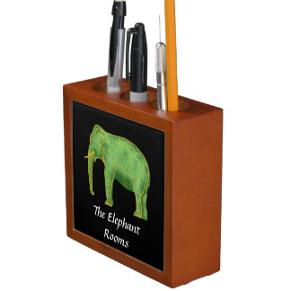 Ancient Gold and Jade Elephant Desk Organiser