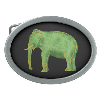 Ancient Gold and Jade Elephant Oval Belt Buckle