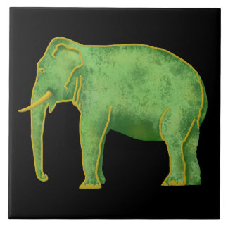 Ancient Gold and Jade Elephant Tile