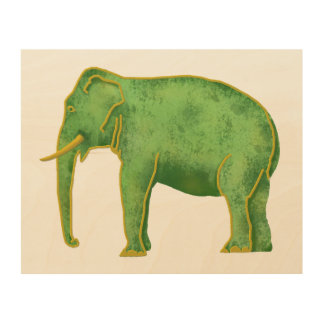 Ancient Gold and Jade Elephant Wood Canvas