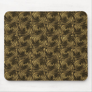 Ancient Golden Celtic Spiral Knots Pattern Mouse Pad