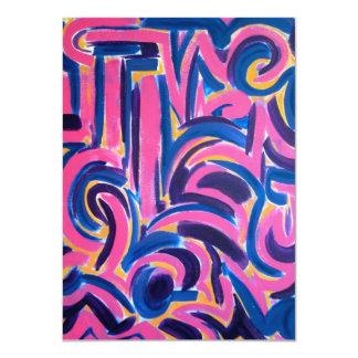 Ancient Greek Graffiti - Abstract Art 11 Cm X 16 Cm Invitation Card