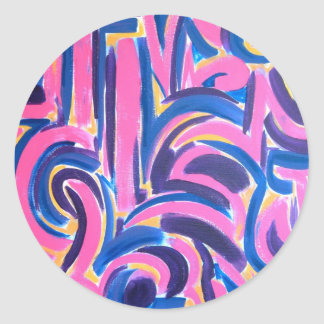 Ancient Greek Graffiti - Abstract Art Handpainted Round Sticker