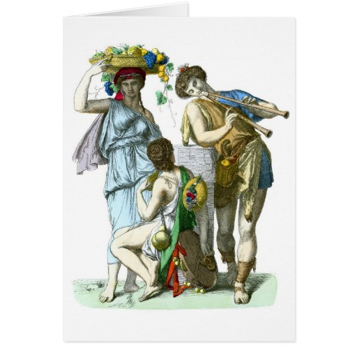 Ancient Greek Musicians and Country Folk Greeting Card