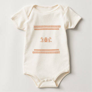 Ancient Greek Style Black and Orange Floral Design Baby Bodysuit