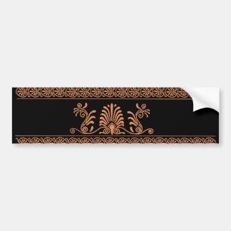Ancient Greek Style Black and Orange Floral Design Bumper Sticker