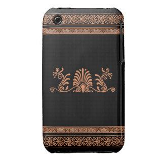 Ancient Greek Style Black and Orange Floral Design Case-Mate iPhone 3 Case