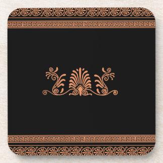 Ancient Greek Style Black and Orange Floral Design Coaster
