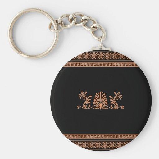 Ancient Greek Style Black and Orange Floral Design Key Chains