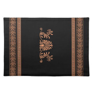 Ancient Greek Style Black and Orange Floral Design Placemat