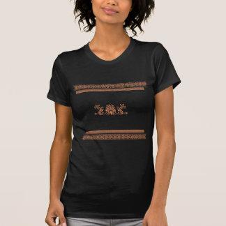 Ancient Greek Style Black and Orange Floral Design Tee Shirt