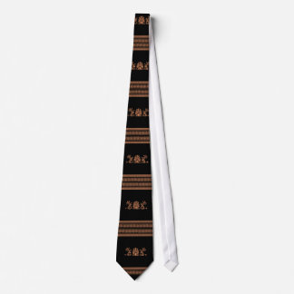 Ancient Greek Style Black and Orange Floral Design Tie