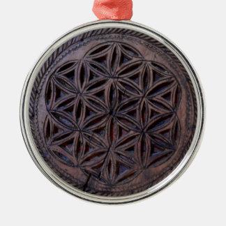 ancient greek symbol wood ethnic flower motif carv Silver-Colored round decoration