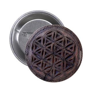 ancient greek symbol wood ethnic motif carved myth 6 cm round badge
