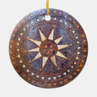 ancient greek symbol wood ethnic sun motif carved round ceramic decoration