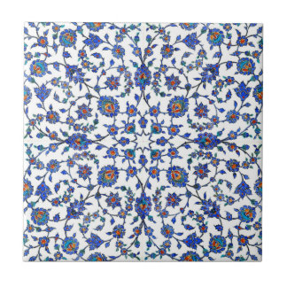 Ancient Handmade Blue Turkish Floral Tiles Pattern