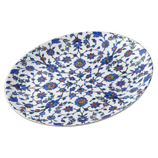 Ancient Handmade Blue Turkish Floral Tiles Pattern Plate
