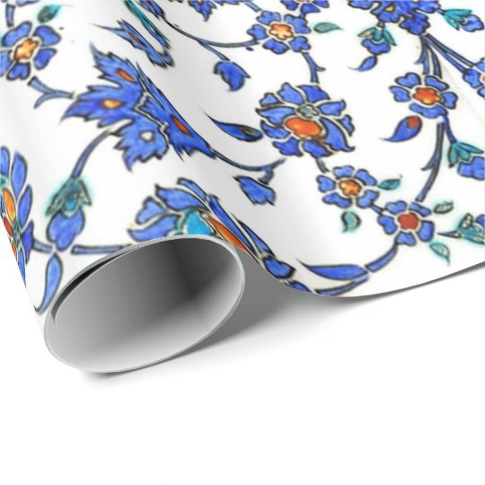 Ancient Handmade Blue Turkish Floral Tiles Pattern Wrapping