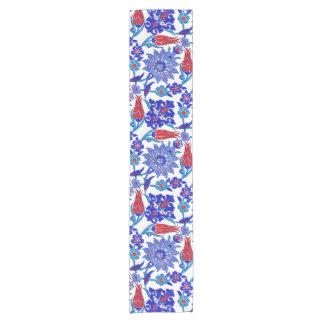 Ancient Handmade Turkish Floral Tulip Tile Pattern Short Table Runner
