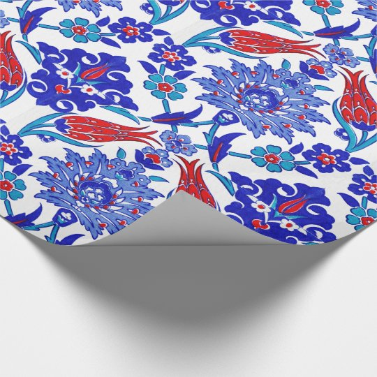 Ancient Handmade Turkish Floral Tulip Tile Pattern Wrapping