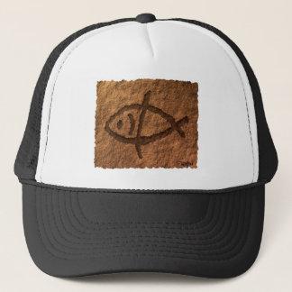 Ancient Hawaiian Fish Petroglyph Trucker Hat