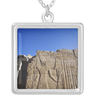 Ancient hieroglyphs on wall, Temple of Karnak, Silver Plated Necklace