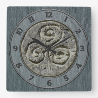 Ancient Image Of A Triskelion Set on Welsh Slate Square Wall Clock