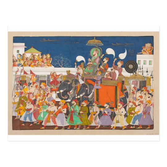 ANCIENT INDIA ROYAL ELEPHANT PROCESSION POSTCARD