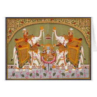 ANCIENT INDIAN PAINTING LORD VISHNU HINDU DEITY GREETING CARD
