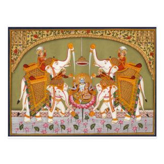 ANCIENT INDIAN PAINTING LORD VISHNU HINDU DEITY POSTCARD