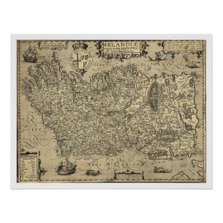 Ancient Ireland Ortelius Map Drawn By Baozio 1606 Poster