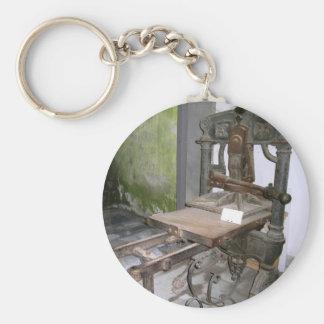 Ancient italian printing press basic round button key ring