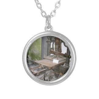 Ancient italian printing press round pendant necklace