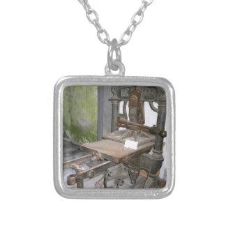 Ancient italian printing press square pendant necklace