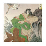 Ancient Japanese Art, Woman and Geese Small Square Tile