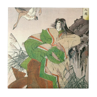 Ancient Japanese Art, Woman and Geese Tile