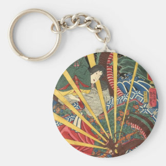 Ancient Japanese Dragon Painting circa 1860's Basic Round Button Key Ring