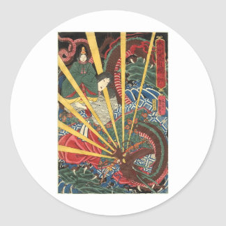 Ancient Japanese Dragon Painting circa 1860's Round Sticker