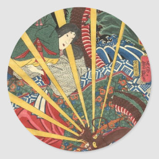 Ancient Japanese Dragon Painting circa 1860's Round Sticker