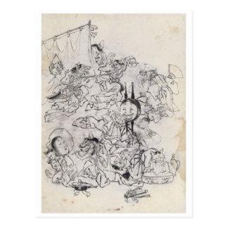 Ancient Japanese Drawing Post Card